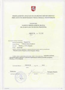 Licencija gaminti priešgaisrinę įrangą ir atlikti jos techninę priežiūrą Nr. 0136